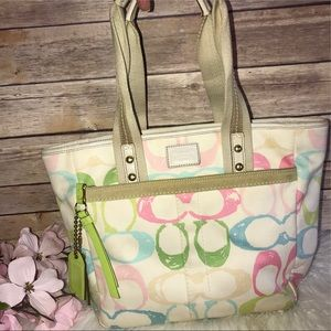 Coach Hampton Pastel Signature Scribble Tote Purse